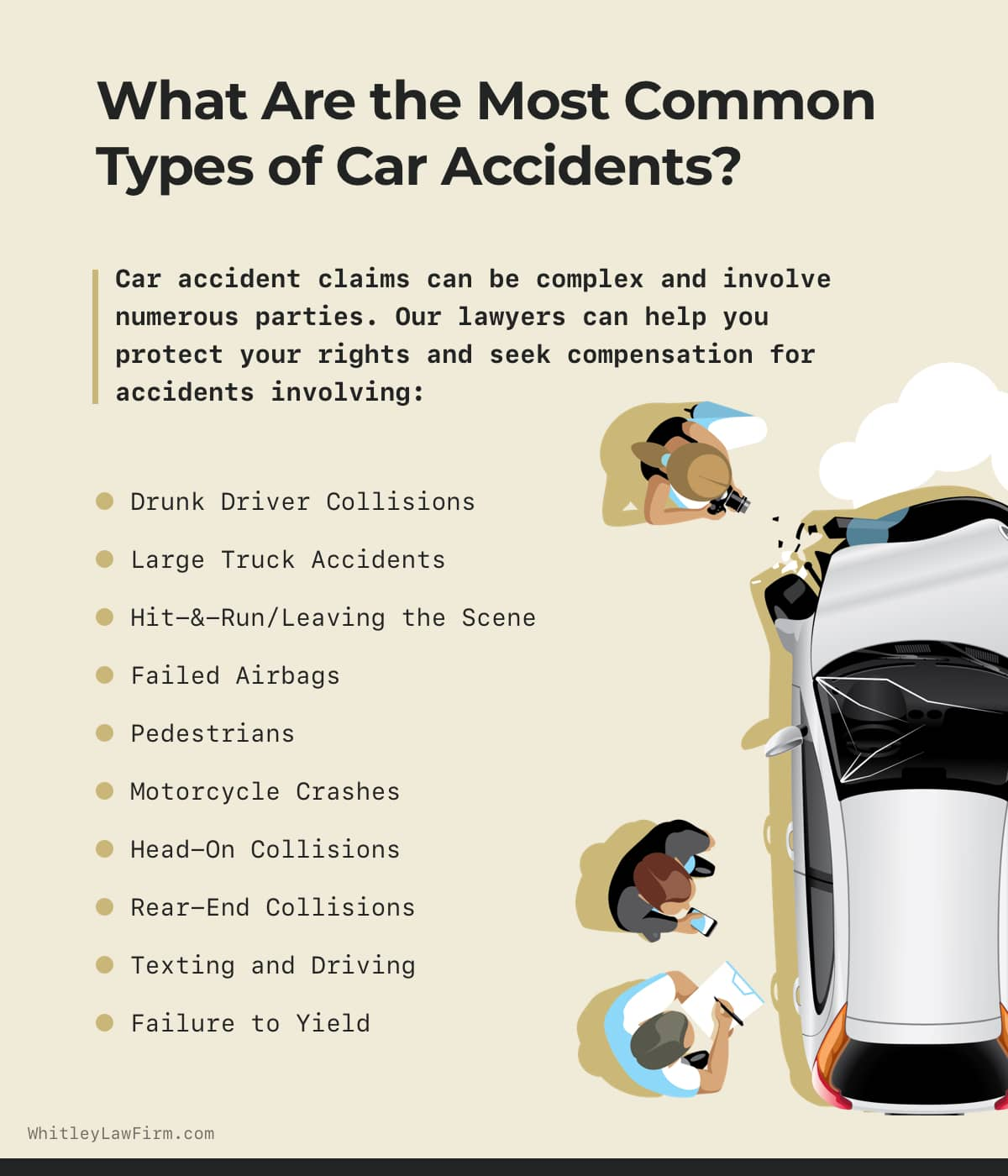 What Are the Most Common Types of Car Accidents? | Whitley Law Firm